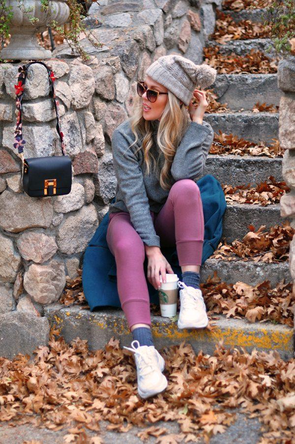 cozy fall style -mauve pink and grey-fendi strap diy-chunky dad shoes - love maegan tintari