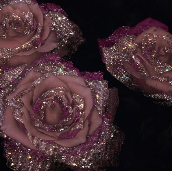 mauve roses with crystals - Sara-Shakeel-Crystal-Collage-Digital-Artist - subway station