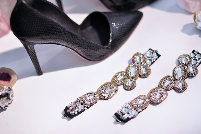 diy pretty crystal embellished mary janes shoe straps and black pumps