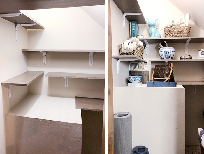 utilizing small spaces - little closet under the stairs