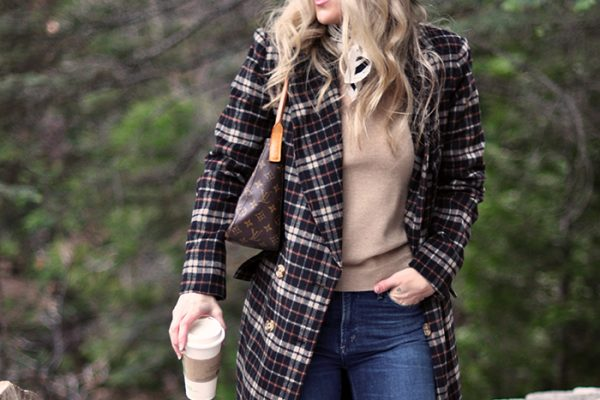 plaid coat-winter style -hat and jacket-camel and denim