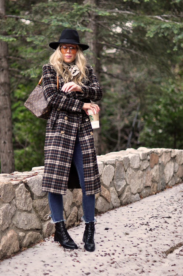 winter style, plaid coat, louis vuitton bag, lake arrowhead, mountain life, snow season, love maegan tintari blo