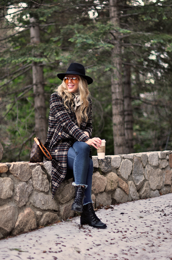 winter style, plaid coat, louis vuitton bag, lake arrowhead, mountain life, snow season, love maegan tintari blog