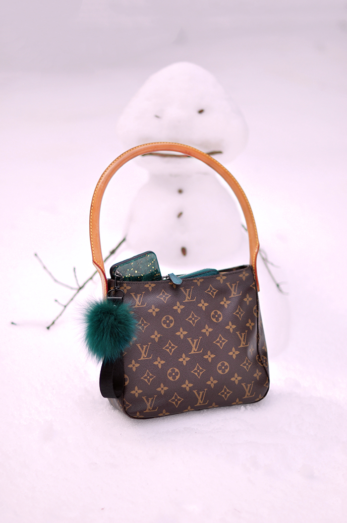 snowman, louis vuitton bag, green wallet and iPhone case with fur strap
