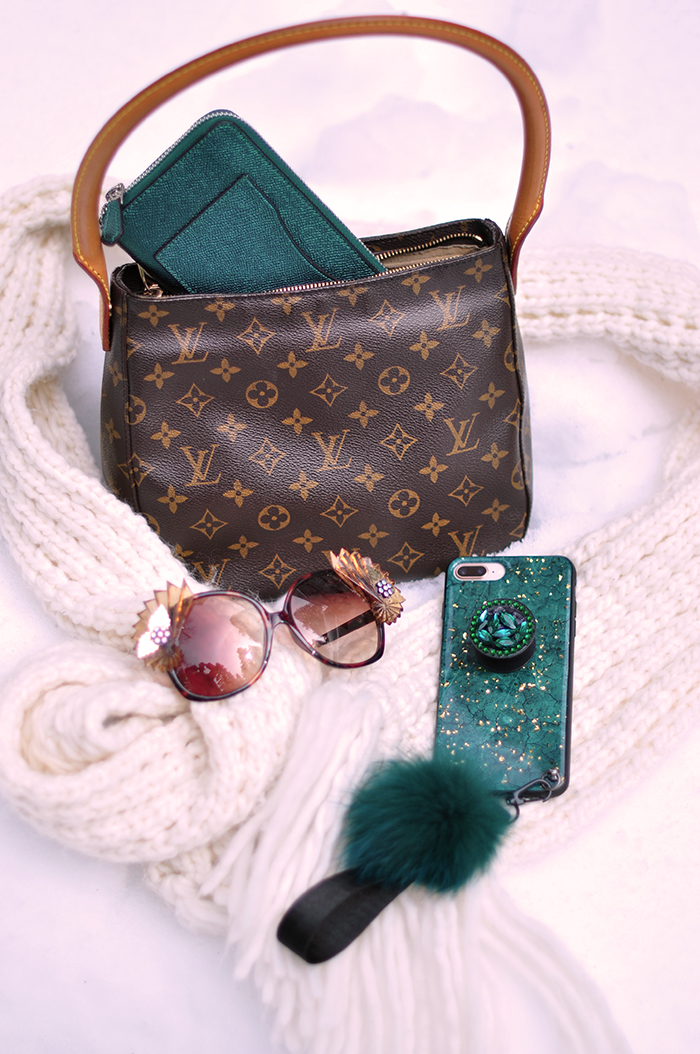 louis vuitton bag, green wallet and iPhone case with fur strap