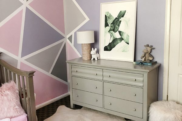 painted accent wall in little girls room - pink and purple and grey geometric triangle wall art DIY