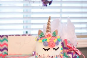 Allie's little Unicorn Birthday Party + Tri-Color Unicorn Cake!