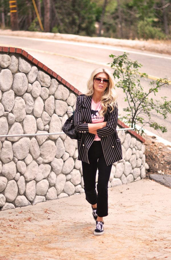 striped blazer-black jeans-pink tee-vans-chanel bag in lake arrowhead