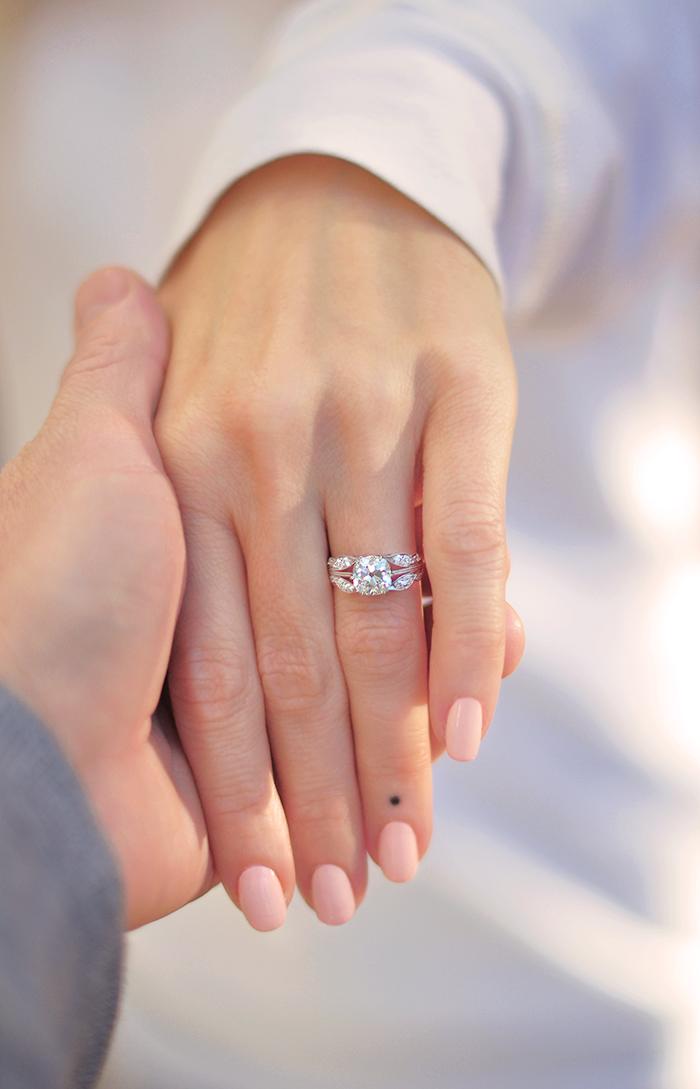 vintage european cut diamond engagement ring in platinum leaf setting