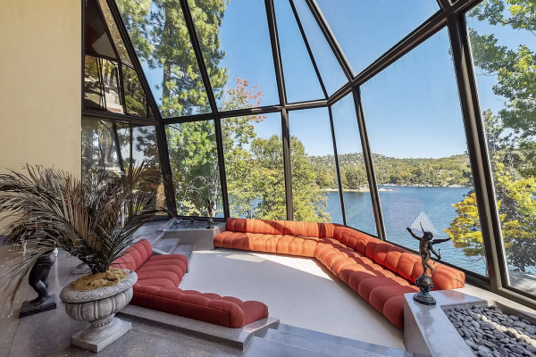 80s chic architectural lake house in lake arrowhead shelter cove