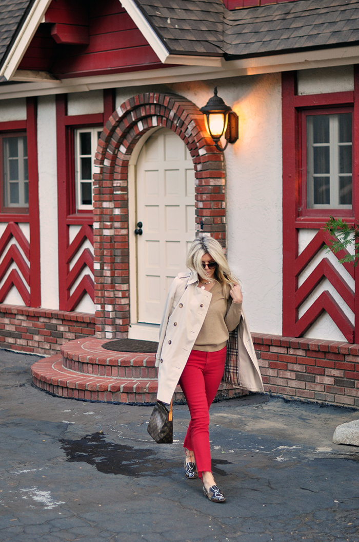 fall style, red and ivory and camel, snakeskin trend and classic burberry trench - love maegan tintari