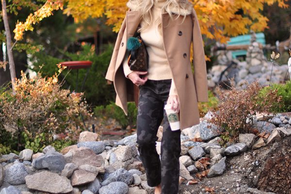 fall style-camo pants-snakeskin shoes-camel coat