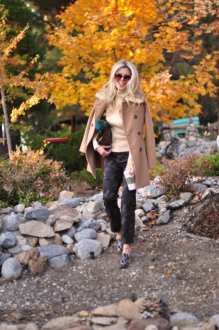 fall style, camo pants, camel coat, snakeskin shoes