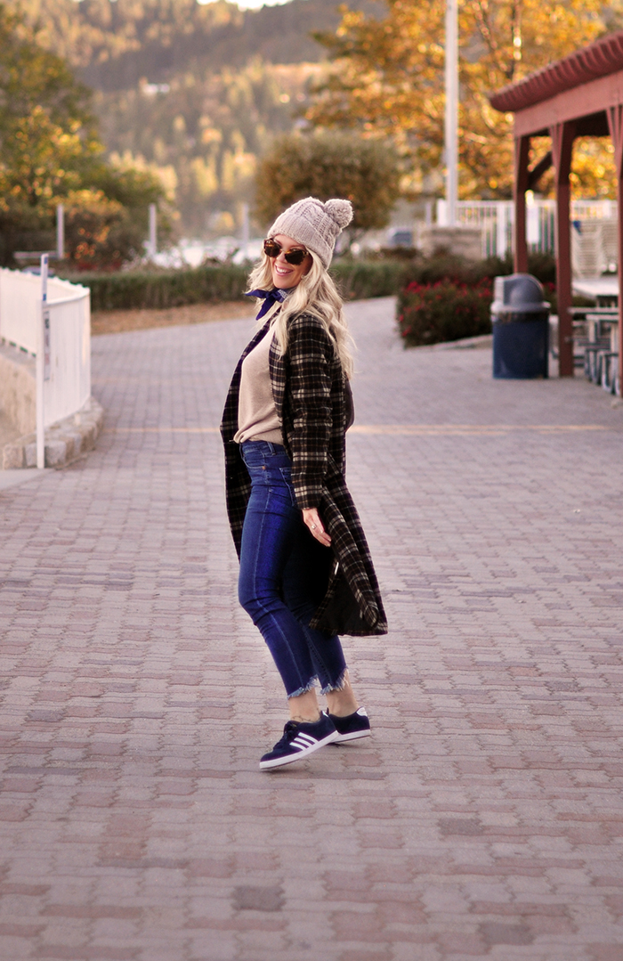 cozy casual fall style, plaid coat - jeans - adidas sneakers, lake arrowhead - love maegan