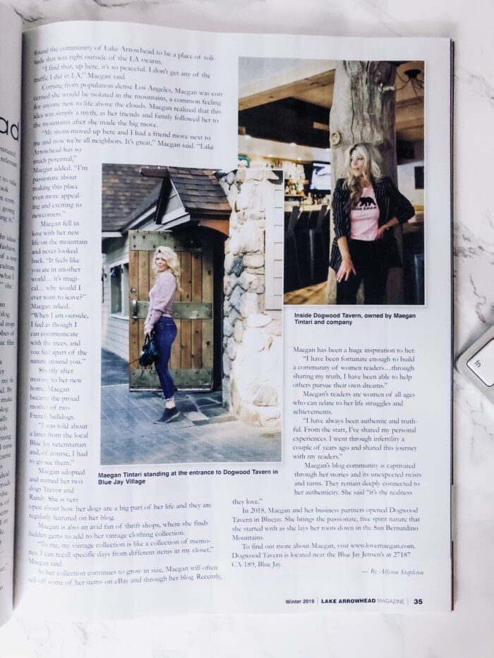 The Lake Arrowhead Magazine - featured article Maegan Tintari