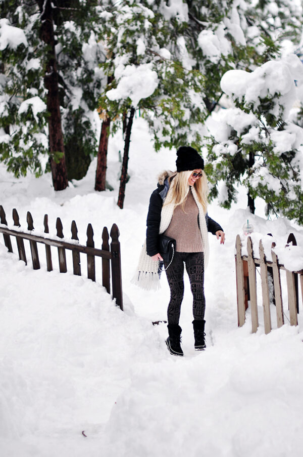 cozy casual style in the snow