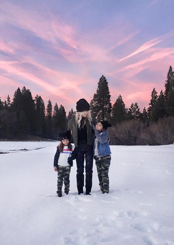 sunset in the snow - lake arrowhead