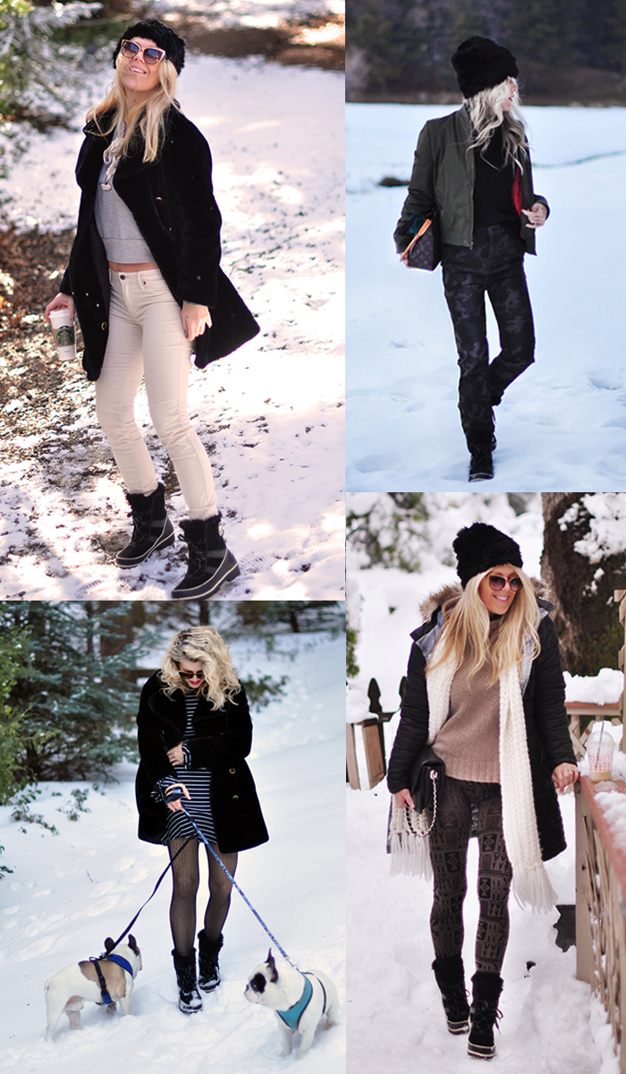 winter style in the snow-short black snow boots-sorel tivoli booties