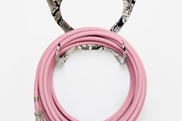 chic garden supplies - pretty pink garden hose with antlers hose wall mount and cobra nozzle