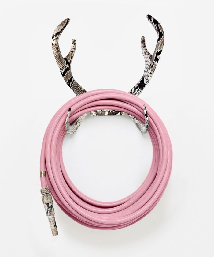 pretty pink garden hose with cobra antlers hose wall mount