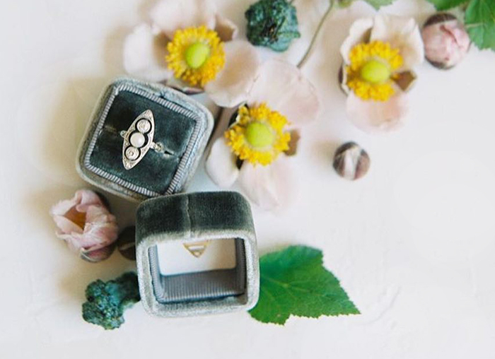 beautiful velvet wedding ring boxes in any color of the rainbow - great for photographers