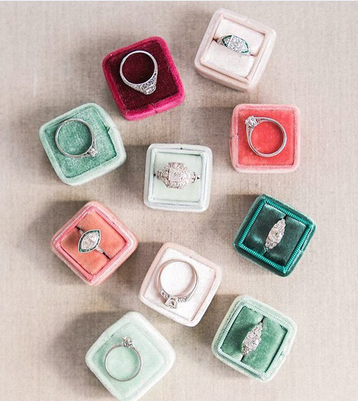 beautiful velvet wedding ring boxes in any color of the rainbow