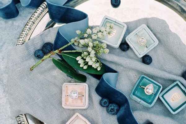 colorful velvet wedding ring boxes - blue and pink engagement ring boxes