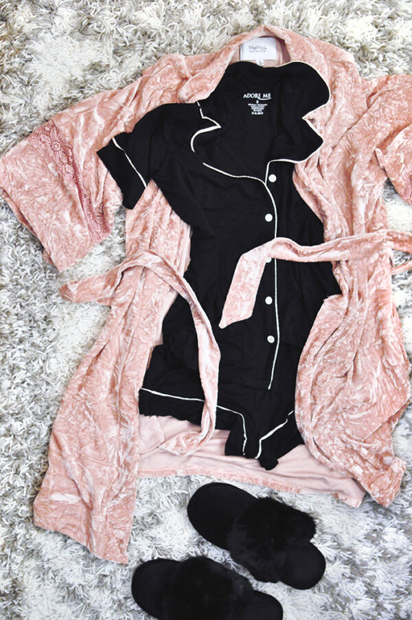 cute pajamas-pink velvet robe-furry slippers-black pajama set with white piping shorts