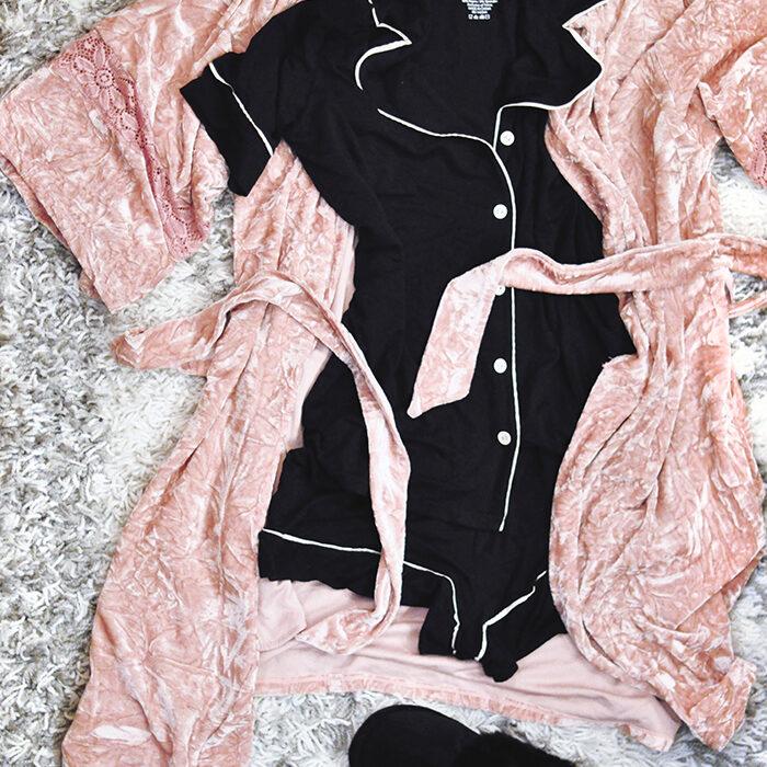 cute pajamas-pink velvet robe-furry slippers-black pajama set with white piping shorts