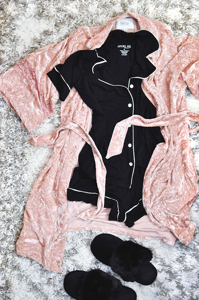cute black and white pajama set with pink velvet robe and furry slippers