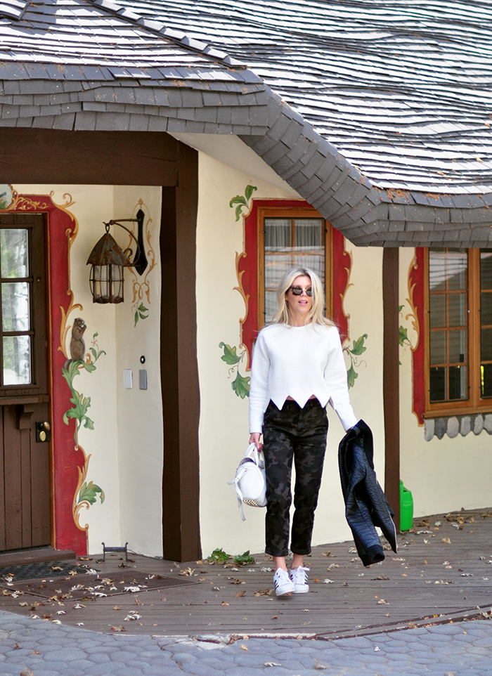 storybook cottage house in lake arrowhead with painted mural on walls