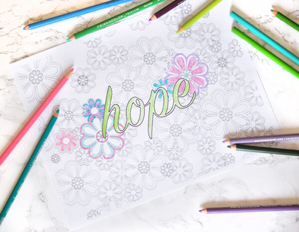 hope is blooming printable coloring page