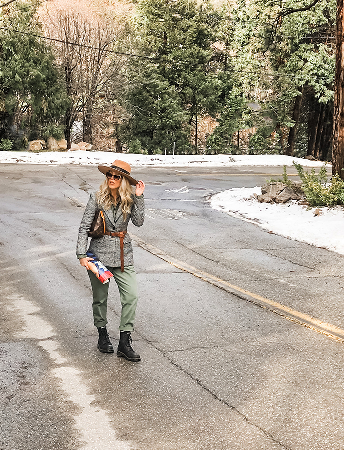 in the woods on the street - winter style - retro military style