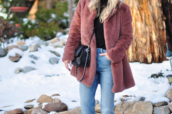 winter style in the snow - vintage jeans faux fur coat and dr martens