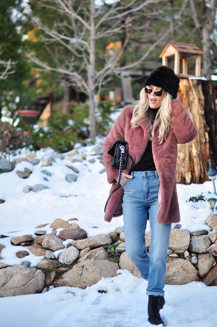 winter style in the snow - vintage jeans and dr martens outfit with faux fur coat - lake arrowhead california