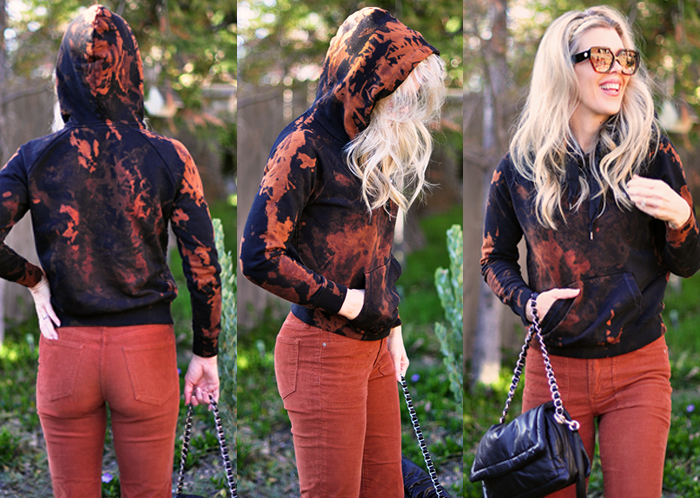 how to splotchy bleach tie dye sweatshirt black hoody