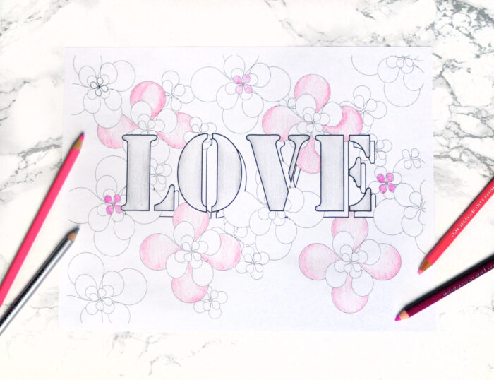 love and flowers coloring page digital art print