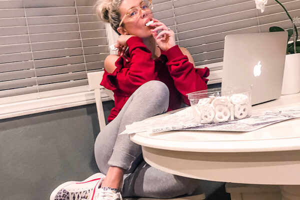 cute quarantine outfit- red and grey sweats-pumas with red and leopard print-stay home outfit