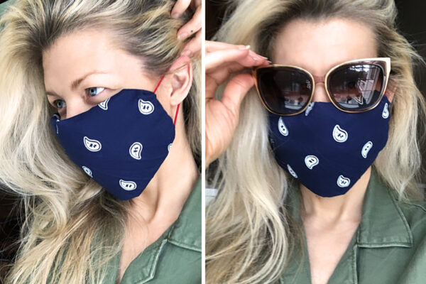 diy bandana face mask no sew with hair elastics
