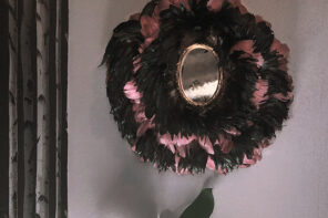 DIY Eclectic Feather Juju Hat with Vintage Mirror