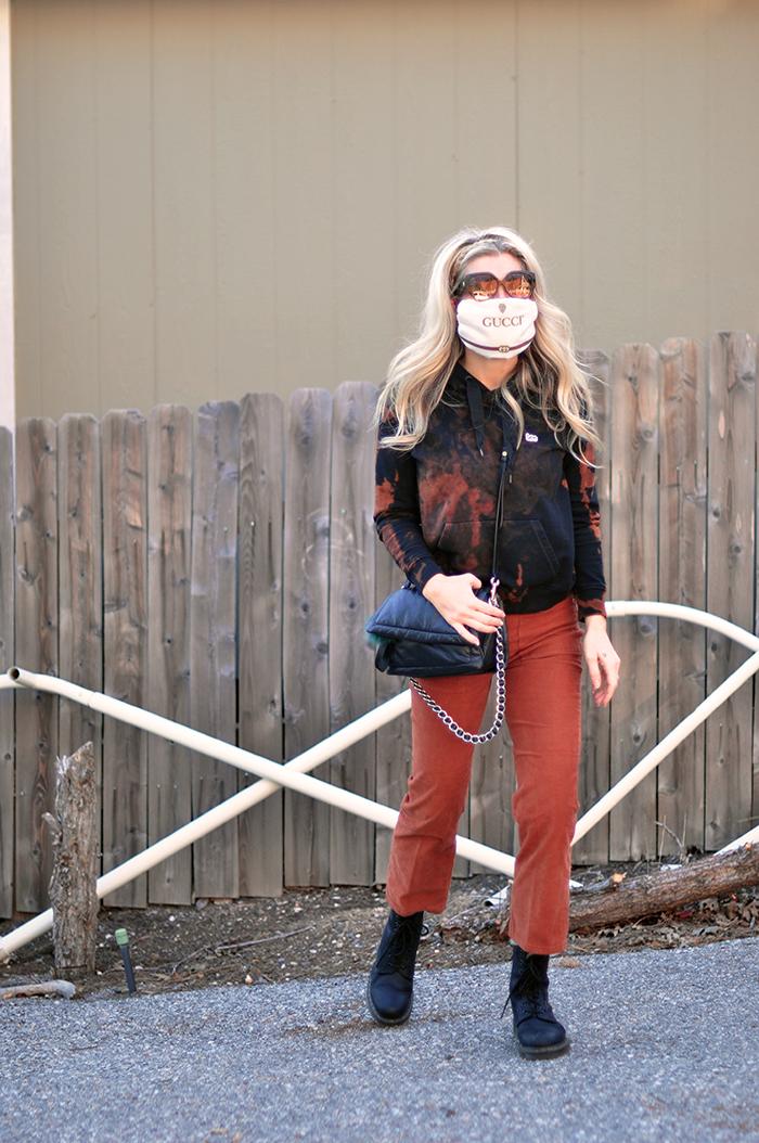 quarantine style outfit - bleach tie dye sweatshirt - dr martens - gucci designer face mask diy