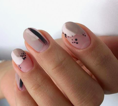 abstract dotted flesh tone nail art