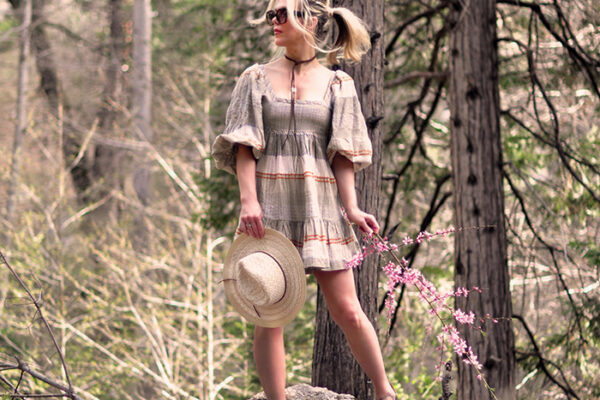 boho spring mini dress quarantine style in the woods - free people dress - outfit with birkenstocks