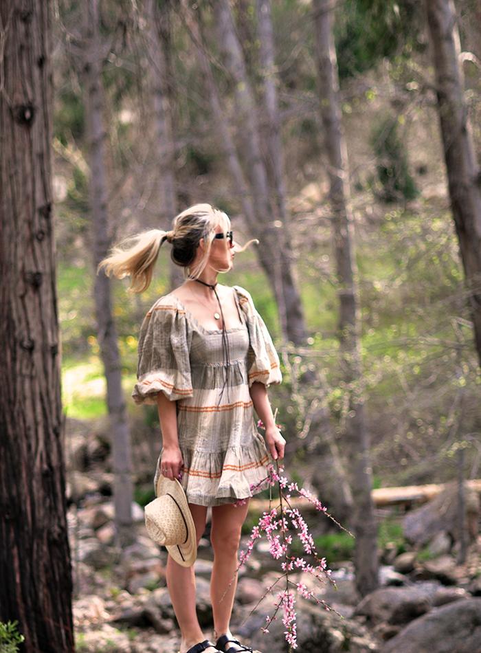 summer dresses - quarantine house dresses - super comfy dresses - boho dress by free people - maegan in lake arrowhead
