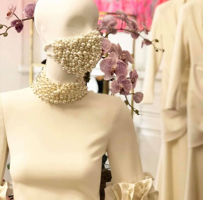 fashion face masks, bejeweled face masks by Christian Siriano - DIY inspiration