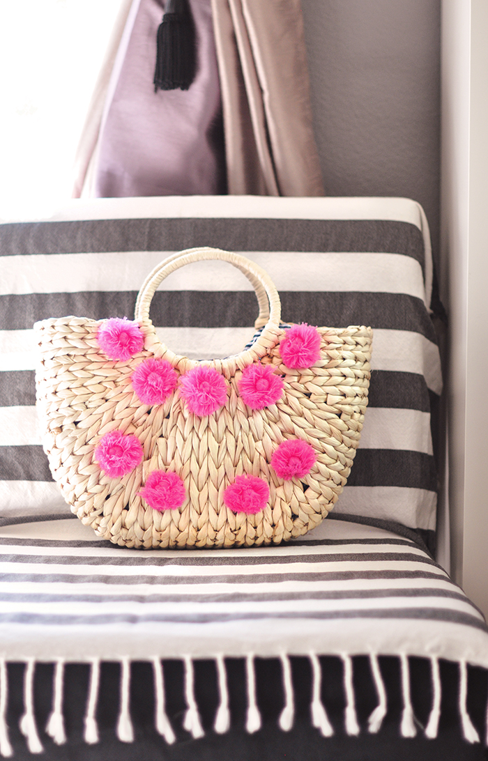 cute summer beach bag - woven straw tote bag with pink poms