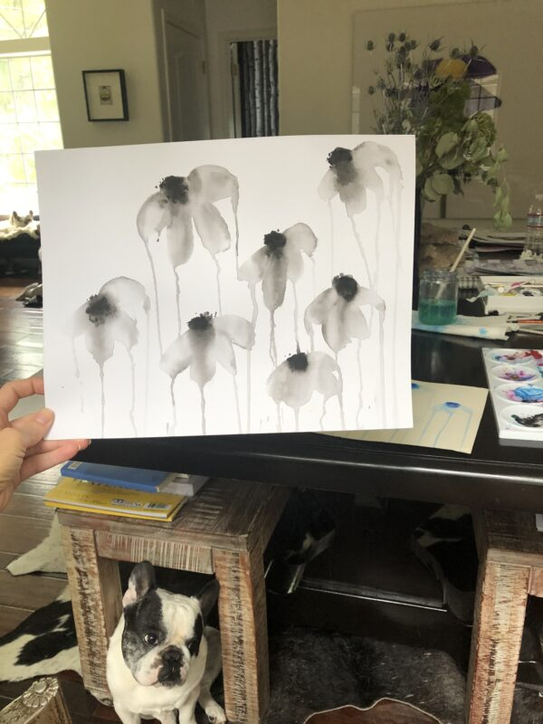 watercolor on paper - dripping flowers