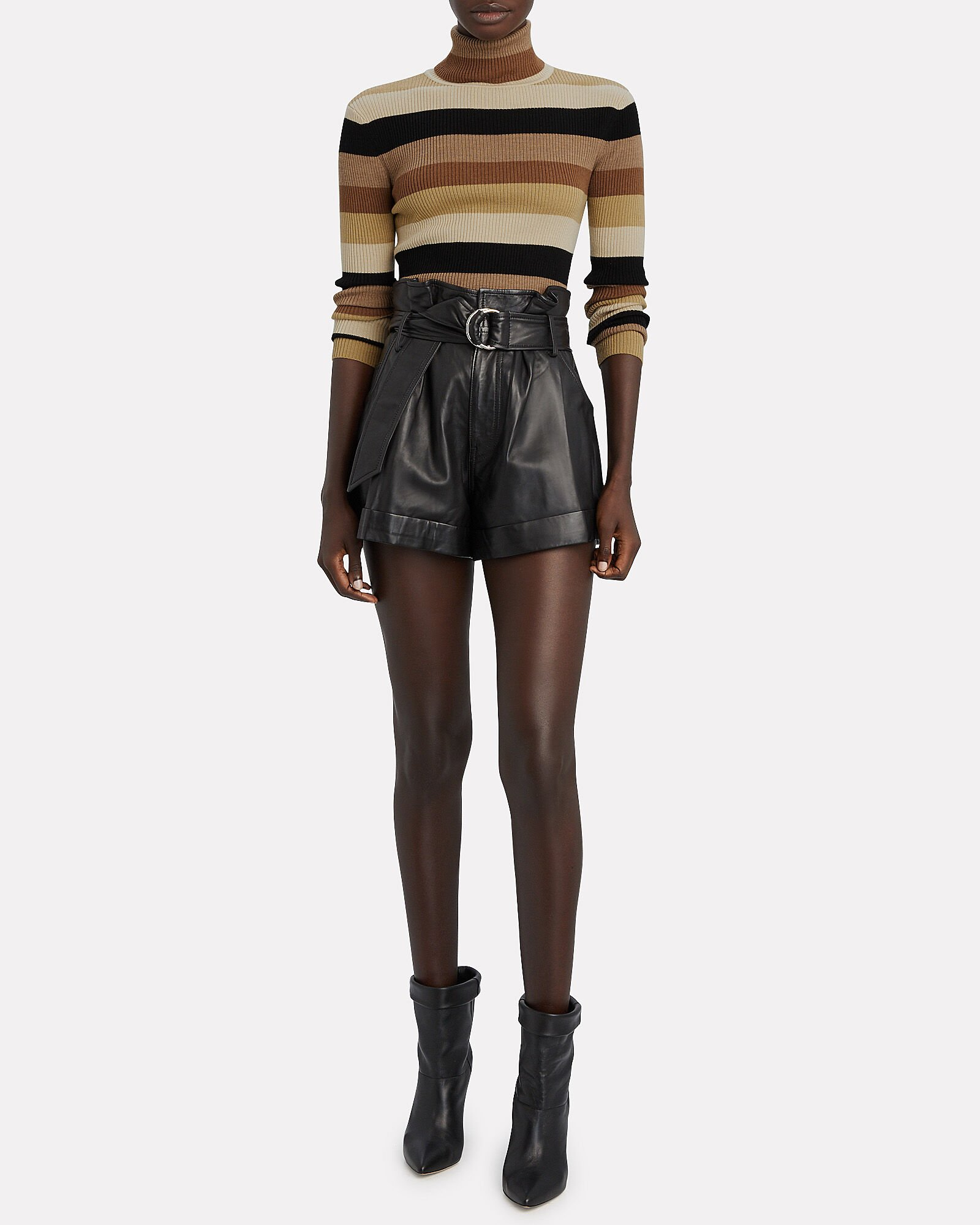 fall style striped turtleneck and leather shorts