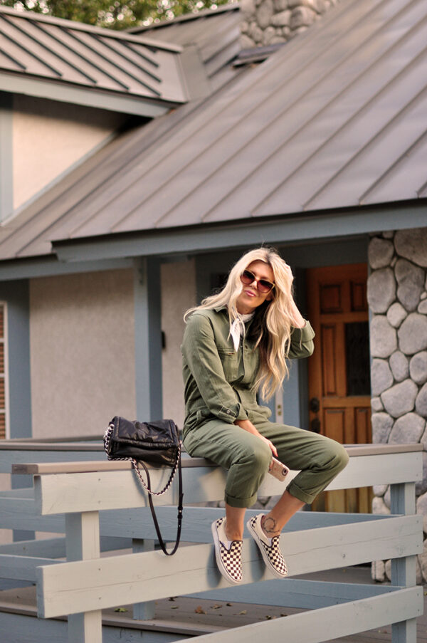 army green coveralls with checkered vans - fall style 2020