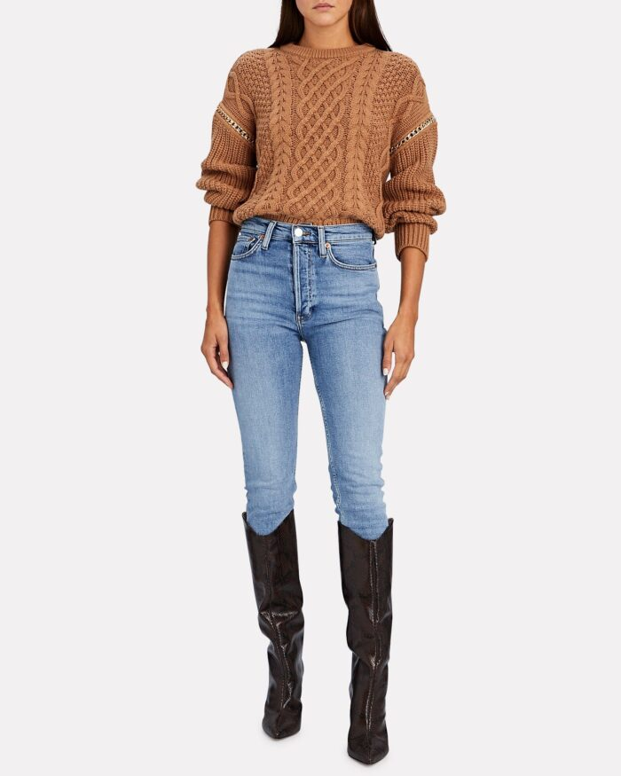 classic style with a twist, jeans and a sweater